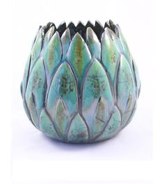 artichoke raku art pottery. different and cool #ceramics #candleholder #raku