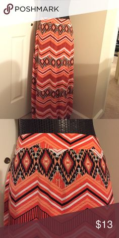 NWT Aztec Maxi Skirt PLUS. Plus size, orange aztec, black,white, elastic waist Skirts Maxi