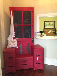 Repurposed waterfall vanity into hall tree : Love this clever idea!