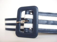 Vintage 1980's Wide Navy Blue and White Striped Belt, Modern Size 4 to 6, Extra Small