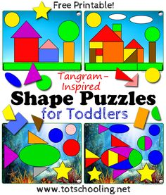 Free Printable Tangram inspired Shape Puzzles for Toddlers to practice shapes, colors and spatial reasoning skills. Preschool Colors, Free Preschool, Toddler Preschool, Preschool Gymnastics, Shapes For Toddlers, Puzzles For Toddlers, Printable Puzzles For Kids, Free Printable, Toddler Activities
