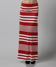 Look what I found on #zulily! Red & White Stripe Maxi Skirt #zulilyfinds