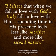 In love with God, Kendra Norman quote