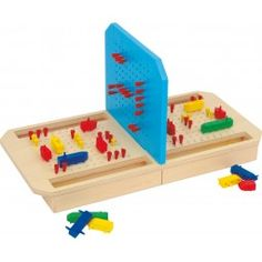 """This game made entirely of wood, has notonly pluggable types of ships but also corresponding """"bombs"""", small cones which have to be stuck tothe appropriate places in the board. Kegel, Battleship, Jouer, Toddler Toys, Kids Gifts, Educational Toys, Fun Games, Wooden Toys, Toy Chest"""