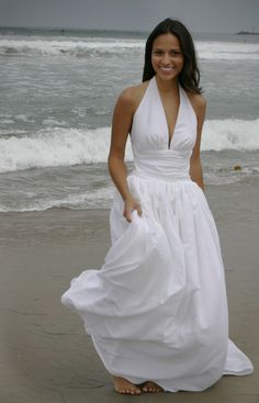 D'Marie Bridal Couture Marilyn Monroe-inspired swiss-dot cotton halter wedding gown, California Collection, $500.00