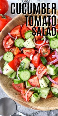 This easy cucumber tomato salad is the best way to use up your fresh garden vegetables. Slice and toss with a homemade vinaigrette dressing to create this Greek-inspired salad. #spendwithpennies #cucumbertomatosalad #salad #summersalad #vegetablesalad Cucumber Recipes, Healthy Salad Recipes, Vegetarian Recipes, Cooking Recipes, Tomato Salad Recipes, Juicer Recipes, Recipes With Fresh Tomatoes, Fresh Vegetable Salad Recipes, Simple Salad Recipes