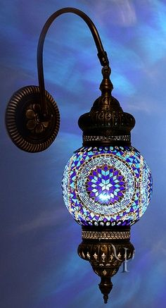 Mosaic Wall Lamp Hmm what about outdoor lights for the back deck? Mosaic Wall, Mosaic Glass, Stained Glass, Glass Art, Mosaic Mirrors, Sea Glass, Blue Mosaic, Moroccan Interiors, Moroccan Decor