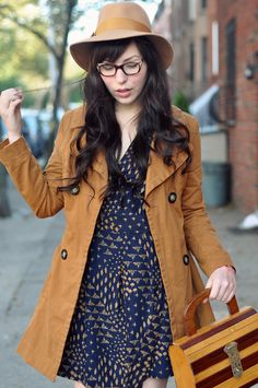 burnt ochre trench + navy dress + wooden purse