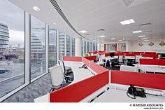120 degree desks, red screens