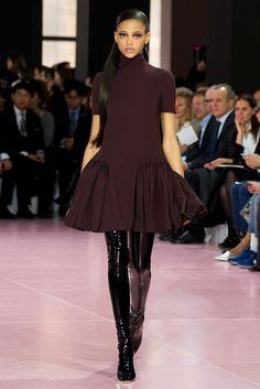 Plum dress with a full draped hem by Christian Dior Fall 2015 Ready-to-Wear Fashion Show