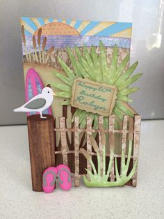 Beach theme birthday card. File thanks to #svgcuts