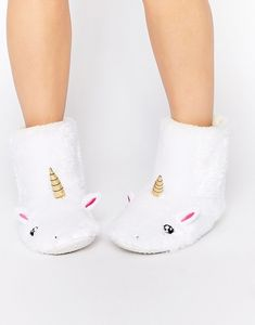 Unicorn slipper boots.