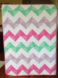 Hey, I found this really awesome Etsy listing at https://www.etsy.com/listing/157440403/modern-baby-girl-chevron-quilt-lavender