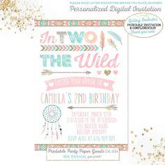 Dream Catcher Birthday Invitation Tribal Arrow Birthday Invitation Boho Birthday Invitation Follow Your Arrow Invitation Wild & Two Birthday