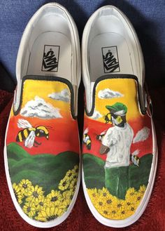 shoes - Tyler the Creator Flower Boy Custom Vans creator custom flower tyler Genel Painted Canvas Shoes, Custom Painted Shoes, Painted Vans, Hand Painted Shoes, Painted Clothes, Custom Vans Shoes, Custom Sneakers, Custom Slip On Vans, Tyler The Creator Vans