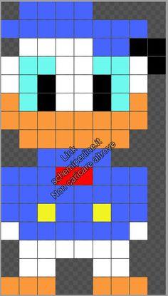 Disney Paperino schema gratis perline da stiro Pyssla Hama Beads 9x16 Easy Perler Bead Patterns, Perler Bead Templates, Pony Bead Patterns, Diy Perler Beads, Loom Patterns, Cross Stitch Patterns, Minecraft Pattern, Pixel Pattern, Minecraft Pixel Art