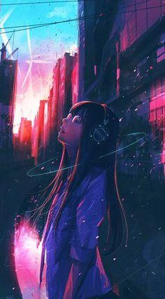 Sky Anime, Manga Anime Girl, Cool Anime Girl, Anime Girl Drawings, Kawaii Anime Girl, Anime Guys, Cool Anime Wallpapers, Anime Scenery Wallpaper, Animes Wallpapers