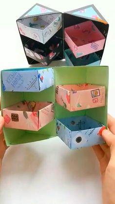 Cool Paper Crafts, Paper Crafts Origami, Fun Crafts, Diy Paper, Diy Crafts Hacks, Diy Crafts For Gifts, Instruções Origami, Diy Art, Diy For Kids