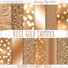 Metallic Copper Digital Paper - Rose Gold Glitter - Bokeh Wallpapers - Light Sparkles - Rose Gold Foil Textures - Shiny Background Graphics HoneyClipArt 5.00 USD