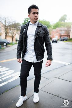 Men's Outfit Idea: White Shirt, Leather Jacket and Destroyed Jeans #leatherjacket #streetstyle #royalfashionist