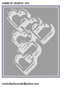 522 Chain of Hearts Filet Crochet Pattern Afghan