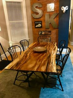 Monkey Pod / Raintree dinning room table with bespoke metal base and wooden trestle Dinning Room Tables, Dining Room Furniture, Furniture Ideas, Esstisch Design, Slab Table, Ohio, Thing 1, Custom Wood, Wood And Metal