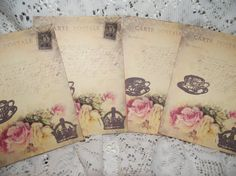 Note Cards Post Cards Vintage Distress Style Hand stamp by mslizz, $5.00