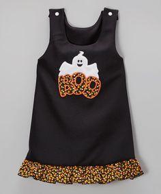 Love this Black 'Boo' Ruffle Shift Dress - Infant, Toddler & Girls by Bizzy Bumpkins on #zulily! #zulilyfinds