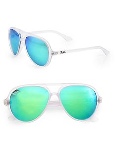 Ray-Ban - Double-Bridge Aviator Sunglasses with Mirrored Blue/Green Lenses at Saks   <3<3