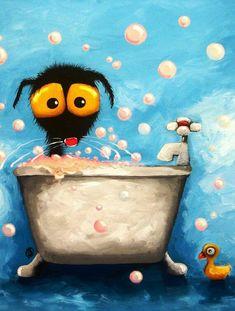 Bathtime Bubbles Canvas Print / Canvas Art by Lucia Stewart Black Cat Art, Canvas Art, Canvas Prints, Watercolor Animals, Whimsical Art, Art Plastique, Cute Illustration, Cute Art, Art For Kids