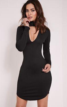Arianna Black Crepe Choker Detail Bodycon Dress Image 1