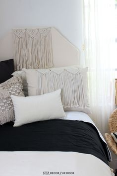 Dorm season is finally here. We are so excited to launch these gorg dorm bedding designs we have been working on for months. This season we're seeing tons of pattern (think palm), texture, macrame, and unexpected fabrics. Of course, neutrals are always a good idea. Dorm Room Headboards, Dorm Bedding Sets, Cute Dorm Rooms, College Dorm Rooms, Dorm Bed Skirts, Dorm Room Designs, Sleep Tight, Dorm Ideas, Room Essentials