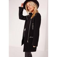 Missguided Collarless Biker Coat (58 AUD) ❤ liked on Polyvore featuring outerwear, coats, black, cropped motorcycle jacket, rider jacket, metallic moto jacket, collarless coats and cropped coat
