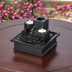 Indoor Tabletop Fountain Water Feature with 2 Tea Light Candles Home Decor Gift