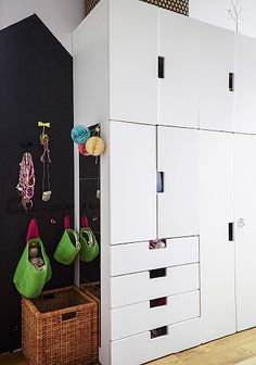 STUVA storage and hanging baskets are child-friendly storage solutions.