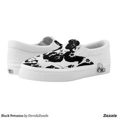 Black Petunias Slip-On Shoes  Available on more products, type in the name of this design in the search bar on my products page to view them all!  #petunia #floral #flower #black #white #pattern #print #all #over #abstract #plant #nature #earth #life #style #lifestyle #chic #modern #contemporary #men #women #kids #sandal #flip #flop #shoes