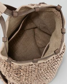 Henry Beguelin Woven Leather Backpack Tote Bag