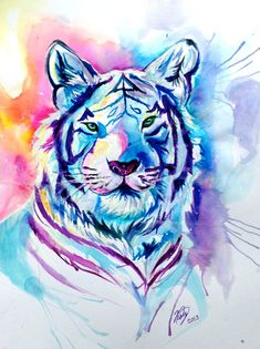 Tiger Splash by Lucky978 on deviantART #design #rainbow #color #illustration #sparkle #cool #awesome #painting #fantasy #neat #painted #sky #watercolor #water #tiger