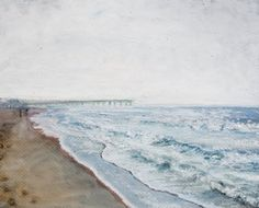 One of a kind original oil pastel drawing of Hermosa Beach