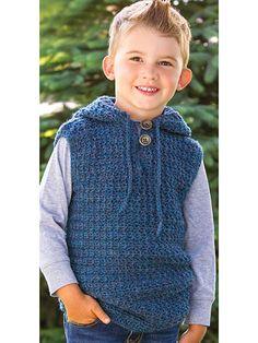 Crochet - Baby & Children Patterns - Clothing - Tanks, Tops & Vests - Denim Blues Hooded Vest
