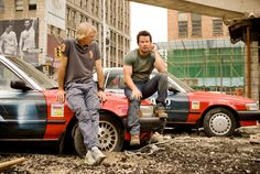 Michael Bay and Mark Wahlberg on the set of Transformers: Age of Extinction