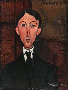 Bust of Manuel Humbert by Amedeo Modigliani Medium: oil on canvas