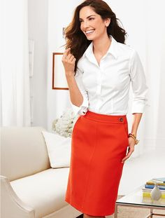 Talbots - Cavalry Twill A-Line Skirt - pairing this  color with blue/white striped button down, looks so fresh....love it!