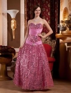 Sweet Pink Tulle Strapless Floor Length Princess Prom Dress
