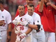 St. Louis Cardinals Peter Bourjos congratulates Kolten