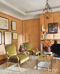Home - Luxe Interiors + Design Luxury Decor, Luxury Interior, Interior Design, Contemporary Furniture, Cool Furniture, Baker Furniture, Leather Wall, Orange Walls, Living Room Modern