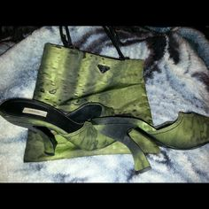Authentic  prada shoes and small purse Almost new bag kept really hard to find set prada green and black olive green and black. Rare set! Prada Other