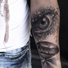 amazing eye tattoo by Niki Norberg - Design of Tattoos Tattoos Motive, 3d Tattoos, Trendy Tattoos, Sleeve Tattoos, Cool Tattoos, Tattoo Sleeves, Tatoos, Diamond Tattoo Designs, Bow Tattoo Designs