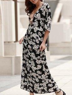 #yoshop.com - #yoshop Plunging Neck Lace-Up Printed Maxi Boho Dress - AdoreWe.com