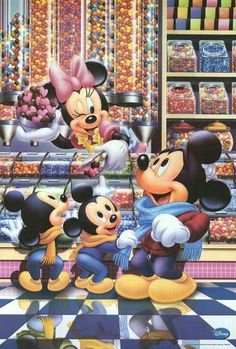 Mickey with his nephews Morty & Ferdie at the candy shop until Minnie talked them in to trying a sample of heart candies.